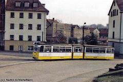 Triebwagen 215 am Nelkenberg. (zwischen 1991 und 1994) (c) Heiko Schiefelbein