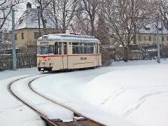 TW 47 in der Wendeschleife am Betriebshof. (29. Januar 2005)