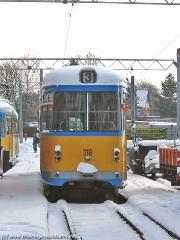 Triebwagen 318 auf dem Betriebshof. (29. Januar 2005)