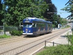 Triebwagen 408 in der Bürgeraue. (20. Juni 2005)