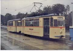 Triebwagen 37 im Regen. (Sommer 1990)