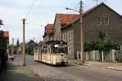 Eine Aufnahme meines ersten Besuchs, als der G4-Gelenkwagen 206 als Pendelwagen in Waltershausen unterwegs war. (Juni 1989)
