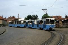 Die nachmittägliche Fahrt der Linie 2E wurde mit zwei Heck-gekuppelten Kt4D (Tw 302 und Tw 303) durchgeführt. (Juni 1989)  Soweit meine Aufnahmen vom ersten Besuch in Gotha.