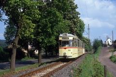 Es folgen einige Aufnahmen vom Juni 1990. Zunächst Waldbahnzug 212+73 kurz vor Erreichen der Wendeschleife in Tabarz.
