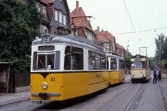 T57 Prototyp-Zug 43-93, nochmals in der Ausweiche Reuterstrasse. (Juni 1990)