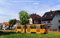 Am Nachmittag des 23. Mai 2016 verläßt der Triebwagen 319 den Bahnhof von Tabarz in Richtung Gotha.