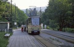 Kreuzungshalt am Bahnhof Reinhardsbrunn. Die eingleisigen Abschnitte waren damals nicht signalgesichert. (14.07.1987)