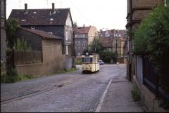 An einem Juli-Abend ist Gotha-Tw 46 auf dem Weg zum Ostbahnhof.