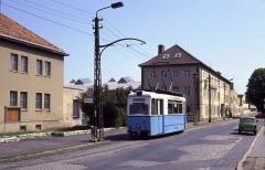 """Tw 39 am 19.07.1992 an der Haltestelle """"Kindleber Straße"""", so steht es zumindest auf dem Schild. Eigentlich hieß sie immer Leinefelder Straße."""