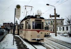 Historischer Zug 43-93 und ATw 47, Gotha Hersdorfstraße, 29.01.2005 (C) Schneider