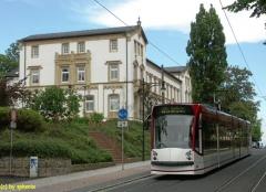 Gotha-Bahnhofsstraße, EVAG Gast-TW 636 Combino am Morgen, aber das Wetter sollte noch besser werden :-)) (c) sphenix