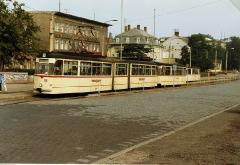 Gotha articulated car 215 at Gotha Hauptbahnhof Aug 1989.