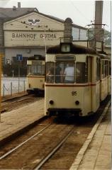 Beiwagen der Thüringerwaldbahn. Tram trailers at Bahnhof Gotha DDR, Aug 1989.