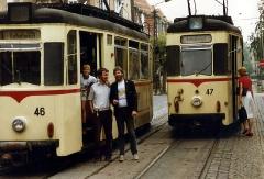 Gotha Tram Drivers in Gotha, DDR. August 1989.