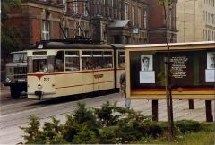 Strassenbahn Gotha,Thüringen. Gotha G4-65 tram no 207 at Gotha Post Office, Aug 1989
