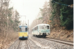 Tw 212,DB 772 139-2 bei Reinhardsbrunn Bahnhof 25.2.1995