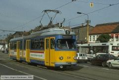 Triebwagen 324, Gotha 324 - GT6, Aufnahmeort: Huttenstr., Hersteller: DUEWAG/BBC, 1960 (1993 ex Mannheim 324), (07.10.1994)