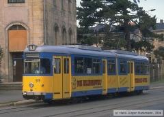 Triebwagen 579, Gotha 579 - GT6, Aufnahmeort: Orangerie, Hersteller: DUEWAG/Siemens, 1957 (1995 ex Bochum 279), (07.09.1996)