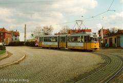 Triebwagen 215 noch in gelb/weiß. (April 1993)