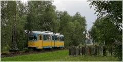 Altes Blech. Der Oldie Tw 592 hat seinen Dienst in Waltershause beendet und strebt nun dem Feierabend entgegen. (16. August 2005)