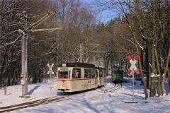 Tw 43 kreuzt den Traditionszug in Reinhardsbrunn Bf (FoSoFa 2005)