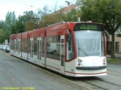 Triebwagen 636. Der EVAG-Combino ebenfalls auf der Friedrichstraße. (12.9.2004)