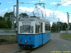 Triebwagen 39 bei der Einfahrt auf den Betriebshof. (12.9.2004)
