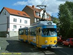 Triebwagen 318 nochmals am Nelkenberg. (12.9.2004)