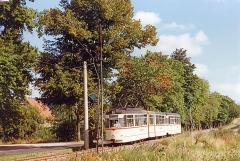Tw 215 folgt uns als Planzug kurz vor Tabarz. Der Wagen gehört aktuell zum Museumsbestand (G4-67 2+2xGlTwER VEB Gotha 1967, Überlandausführung, 2001 restauriert, seit 01/2002 HTw