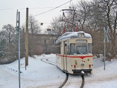 Fotosonderfahrt 01/2005. TW 47 kommt aus der Wendeschleife am Hbf. (29. Januar 2005)