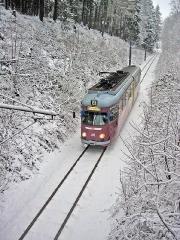 Triebwagen 396 zwischen Tabarz und Marienglashöhle. (27. Dezember 2004)