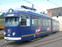 Triebwagen 408. Der Braugoldzug auf dem Betriebshof. (12. September 2004)