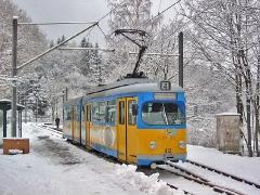 Triebwagen 412 an der Haltestelle Friedrichroda. (27. Dezember 2004)
