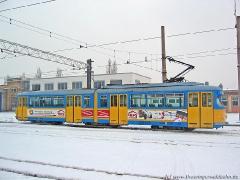 Triebwagen 443 auf dem Betriebshof. (29. Januar 2005)