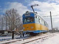 Triebwagen 443 am Gleisdreieck Sundhausen. (29. Januar 2005)