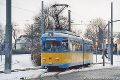 Triebwagen 443 beim Einrücken in den Betriebshof. (29. Januar 2005)