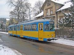 Triebwagen 528 in Walterhausen. (29. Januar 2005)