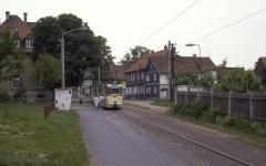Tw 206 in der ehemaligen Ausweiche Sundhausen, sie wurde später durch die Ausweiche am hawege-Markt ersetzt. (12.07.1987)