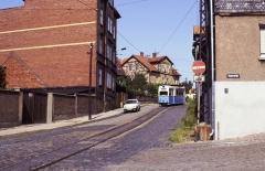 Am 19.07.1992, einem Sonntag, war Tw 39 auch tagsüber auf der Linie 2 unterwegs. Er trug inzwischen das blau-weiße Farbkleid des Stadtverkehrs.