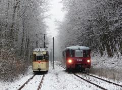 Tw 215 und EBS 772 345 zwischen Reinhardsbrunn und Schnepfenthal, 25.01.2014 (1), (C) Quaß