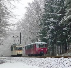 Tw 47 und EBS 772 345, zwischen Reinhardsbrunn und Schnepfenthal, 25.01.2014 (4), (C) Quaß